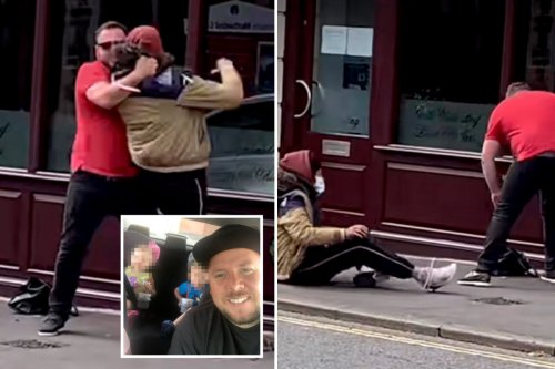 Moment hero dad chases down bag-snatcher before tackling thief to the ground