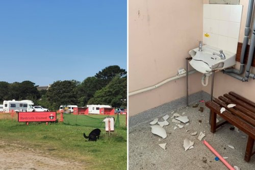Shocking mess left by 'travellers' who camped on footie pitch & 'destroyed it'