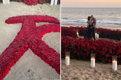 Kardashian fans spot Travis' secret message to Kourtney in roses during proposal