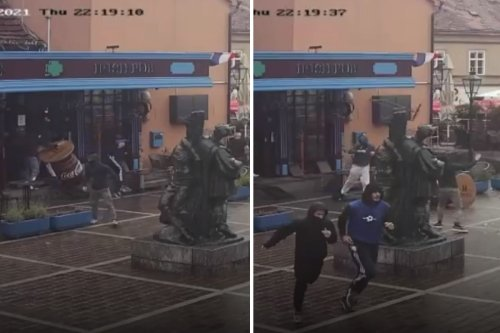 Watch West Ham fan fight off TEN Dinamo Zagreb thugs who attacked group in bar