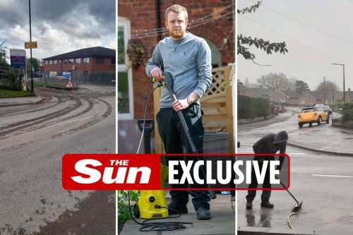 Homeowner forced to jet-wash HOUSE as construction lorries coat it with muck