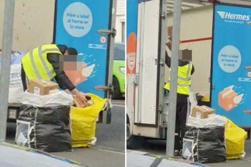Shocking moment Hermes driver HURLS parcels into back of delivery van