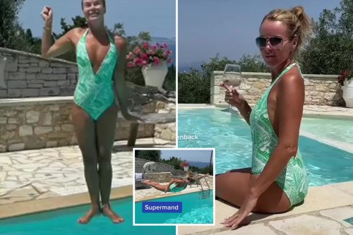 Amanda Holden strikes hilarious poses as she jumps in the pool
