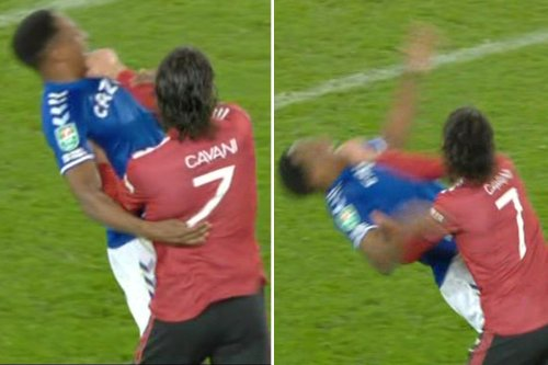 Edinson Cavani escapes red card after appearing to THROTTLE Yerry Mina with no VAR in Man Utd's 2-0 win over Everton