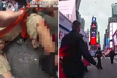 Dramatic moment cop saves girl, 4, after she was shot in Times Square