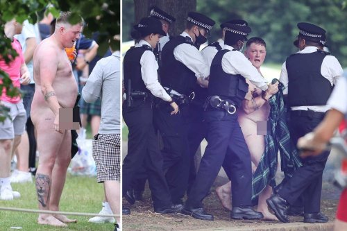 Naked Scottish football fan is arrested in London ahead of England clash
