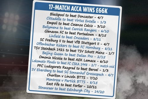 Lucky punter wins £66k from incredible £50 17-match accumulator