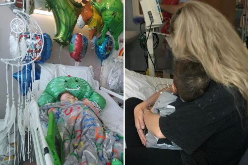 Mum's agony as three-year-old son's tummy ache is diagnosed as stage four cancer