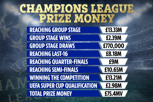 Champions League prize money CONFIRMED as Prem clubs begin quest for glory