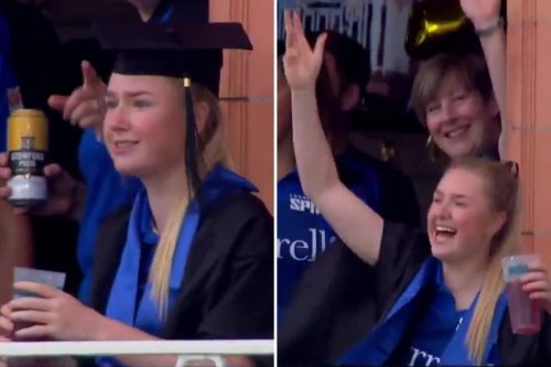 Watch London Spirit's Monaghan celebrate her graduation DURING a Hundred victory