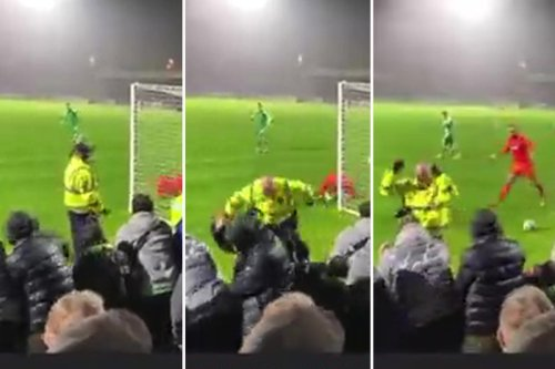Watch hilarious moment Yeovil star smashes penalty straight into steward's face