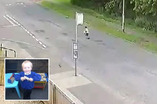 Moment boy, 4, crosses road alone after leaving school without anyone realising