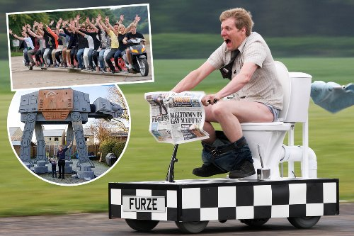Inventor goes potty for wacky vehicles - including 55mph toilet and 72ft scooter
