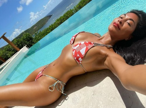 Nicole Scherzinger wows fans as she shows off enviably toned body in tiny bikini for poolside selfies