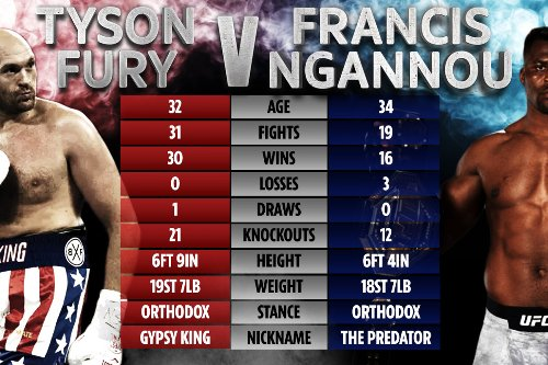 How Tyson Fury and UFC champ Francis Ngannou compare ahead of potential fight