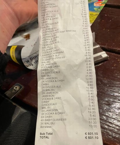 Four pals slam 'scandalous' bill from four hours of drinking at pub