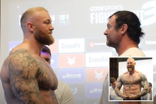 Hafthor Bjornsson weighs in three-and-a-half-stone heavier than opponent