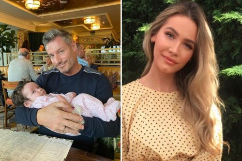 Proud Dean Gaffney, 43, poses with newborn granddaughter
