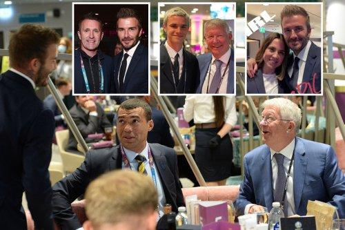 David Beckham reunites with Sir Alex Ferguson and Mel C for England vs Scotland