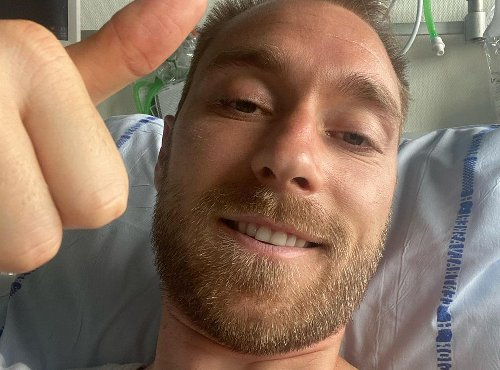 Eriksen gives thumbs up from hospital bed in first picture since cardiac arrest