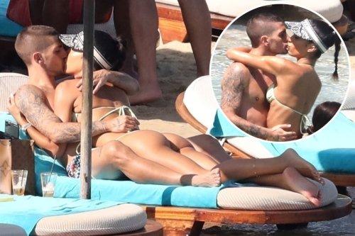 Marco Verratti kisses and cuddles model wife Jessica Aidi on honeymoon