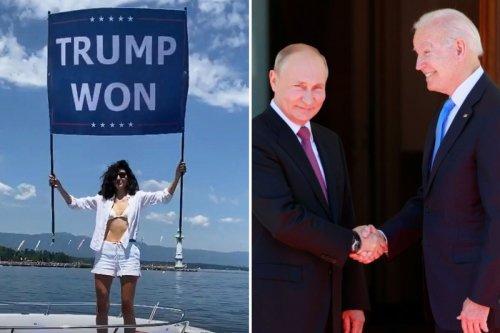 Bin Laden's niece flies 'Trump won' flag in protest of Biden-Putin summit