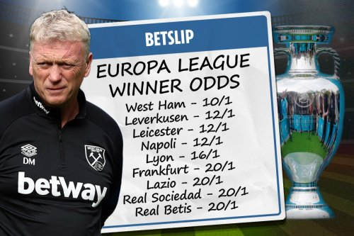 Europa League winner odds: West Ham favourites to lift trophy ahead of Leicester