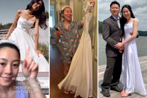Bride's best friend MAKES her wedding dress in less than 24 hours