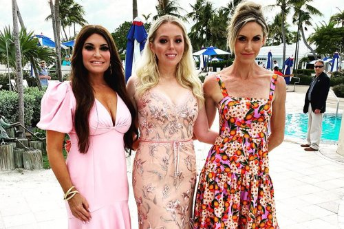 Lara and Tiffany Trump pose by the pool with Kimberley Guilfoyle in Florida as Don's new HQ location revealed