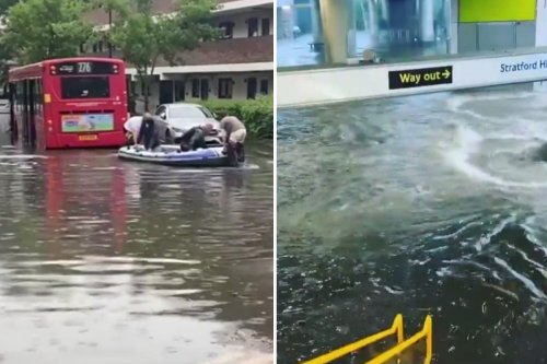 People rescued from bus by dinghy and station underwater in flood chaos