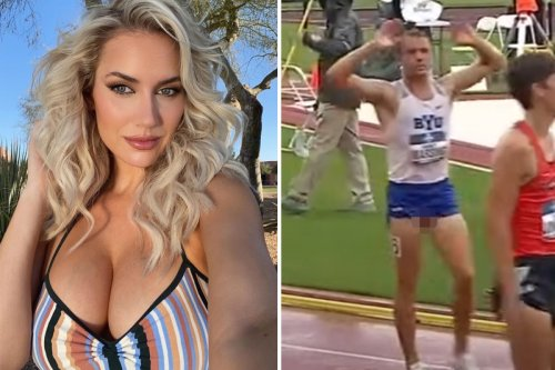 Paige Spiranac jokes about her cleavage after spotting runner's nuts fall out