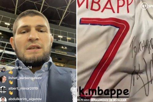 Khabib demands UFC fight at Barca's stadium after getting signed Mbappe shirt