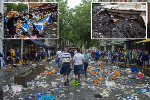 Football fans trash Leicester Square leaving piles of rubbish before Euros game