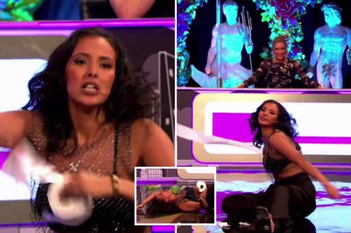Maya Jama cracks her head on the floor while sexy dancing on Celebrity Juice