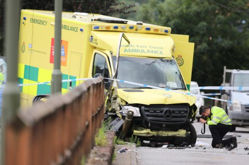 Woman, 40, dies after ambulance crashes on the way to hospital in horror scenes