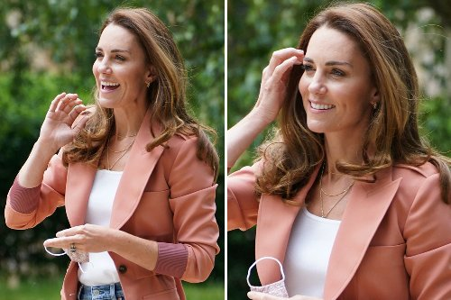 Kate beams as she arrives at the museum as Harry expected to return home