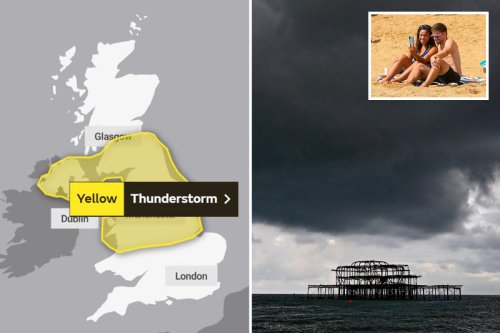 Britain's 14 hours of storms ahead of wet weekend, but heatwave likely this month