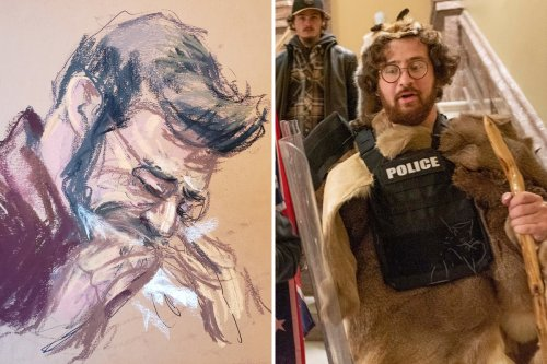 Judge's son who stormed Capitol in fur CRIES in court as he faces 10yrs' prison