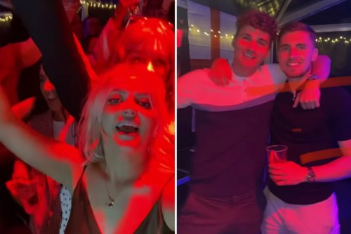 Lucy Fallon looks worse for wear as she parties with boyfriend Ryan Ledson