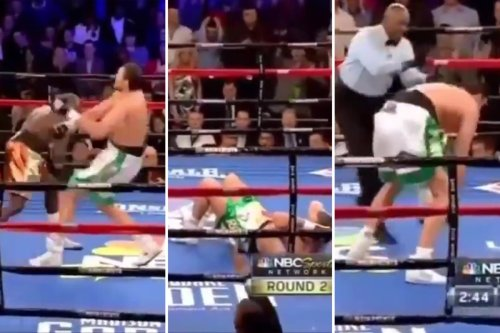Watch moment Fury was floored in New York but picked himself up to fight on
