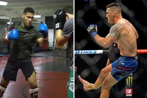 UFC star Chris Weidman back in training just 54 days after leg compound fracture