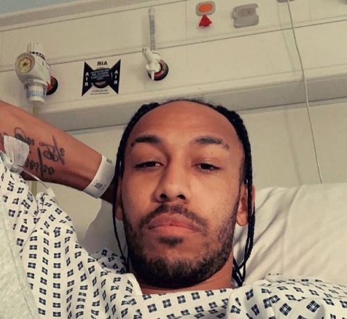 Aubameyang reveals he caught Malaria on Gabon duty with photo from hospital bed