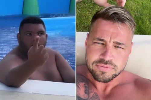 Katie Price's son Harvey gives her fiance Carl Woods the finger after he asks how the lad is doing on holiday