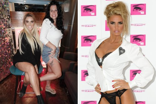 Katie Price fan with alter-ego 'Jordan' tattoo poses next to star as she does meet & greets on make-up masterclass tour