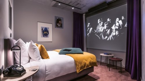 You can stay at a film-inspired hotel with in-room 9ft movie projectors