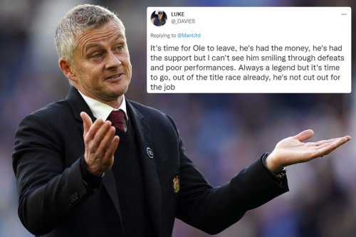 Man Utd fans want Solskjaer sacked with 'title race over' after Leicester loss