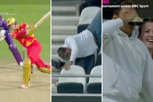 Watch fan's amazing catch off Livingstone six before falling and necking beer