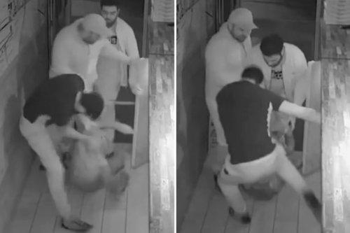 Shocking moment kebab shop owners absolutely batter suspected burglar
