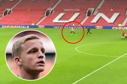 Van de Beek casts lonely figure as he trains on his own on Old Trafford pitch