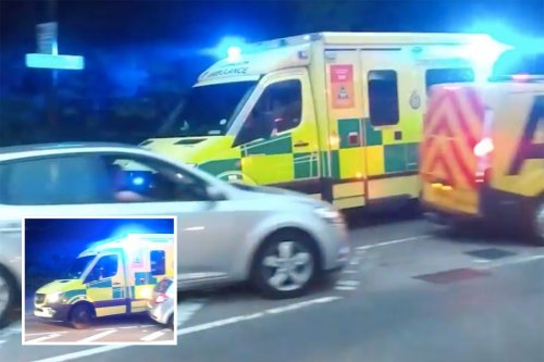 Ambulance crashes into cars queuing for petrol while rushing to emergency